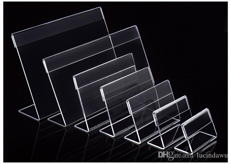 Divers taille plus petite T1.3mm Acrylique Clair En Plastique Signe Affichage Papier Étiquette Carte Étiquette De Prix Titulaire L En Forme De Stand Horizontal Sur Table 50 pcs