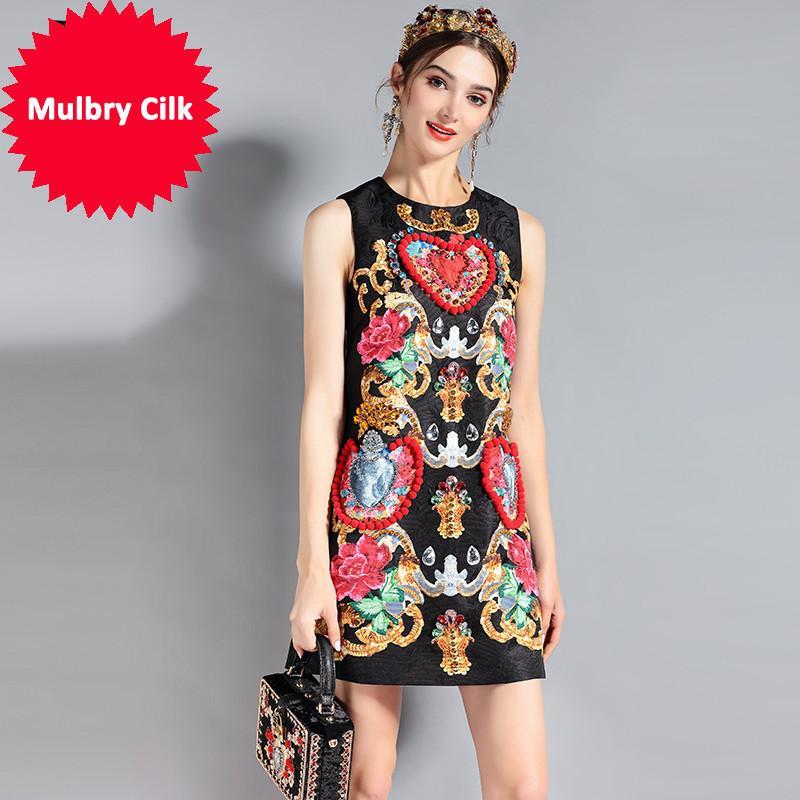 2018 Moda Pist Elbise kadın Kolsuz Lüks Kristal Boncuk Vintage Yaz Elbise Yüksek Kalite