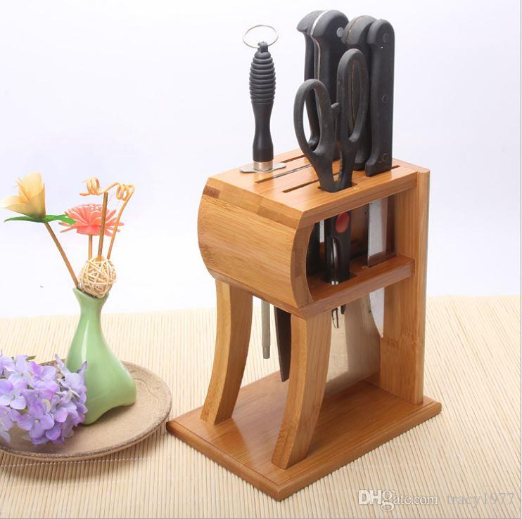 2019 Waterproof Bamboo Knife Block Kitchen Knife Storage Rack Cutting Tool  Holder Bamboo Tool Rack Kitchen Supplies Storage Rack From Tracy1977, ...