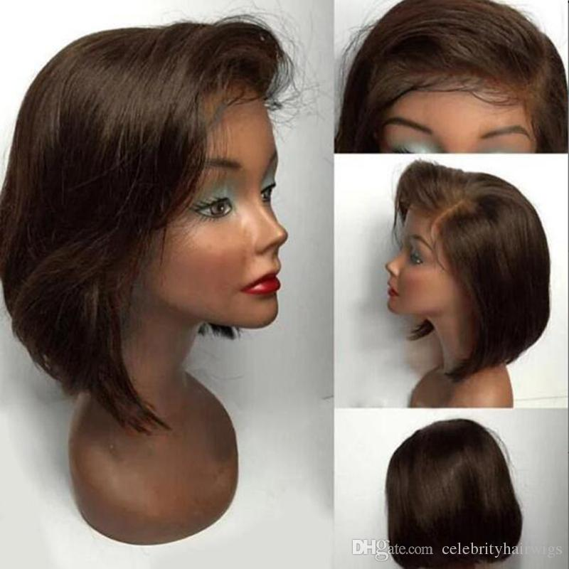 MHAZEL Bob Straight Brown Picture Hair Virgin Brazilian Hair Front Lace Wig Side Part Real Hair