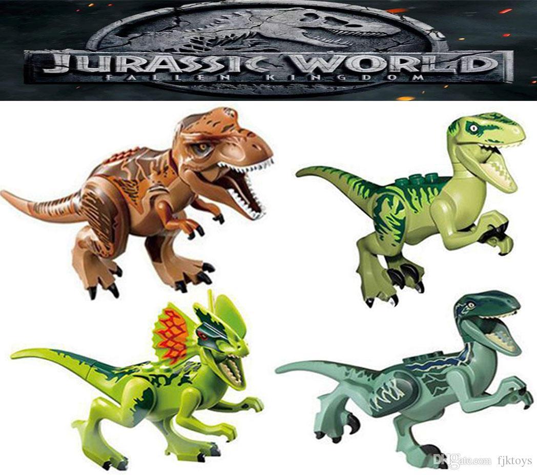 شخصيات مصغرة الجوراسي بارك الديناصور كتل 8 قطع الكثير فيلوسيرابتور الديناصور ريكس اللبنات مجموعات أطفال لعبة الطوب هدية