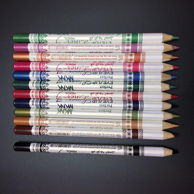 12 Pcs / Ensemble Couleurs Mixtes Make Up Eyeliner Crayon Étanche Eye Liner Beauté Stylo Cosmétiques Yeux Maquillage Outils OA66