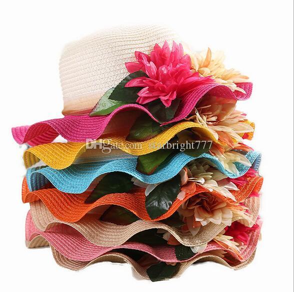 Kids Sun Hats Baby Flower Caps Kids Straw Fedora Hat Baby Girls Sun Hat candy color Children Summer Beach Hat Caps 10pcs