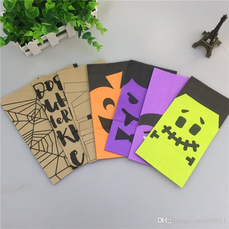 50pcs/Set Size18x9x5.5cm Halloween Paper Gift Bags Wedding Candy Packaging Recyclable Jewelry Food Bread Shopping Party Bags For Boutique
