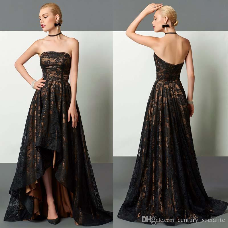 Champagne with Black Evening Dresses Lace High-Low A-Line Strapless Zipper Back Sexy Newest Prom Dresses Plus Size Formal Gowns