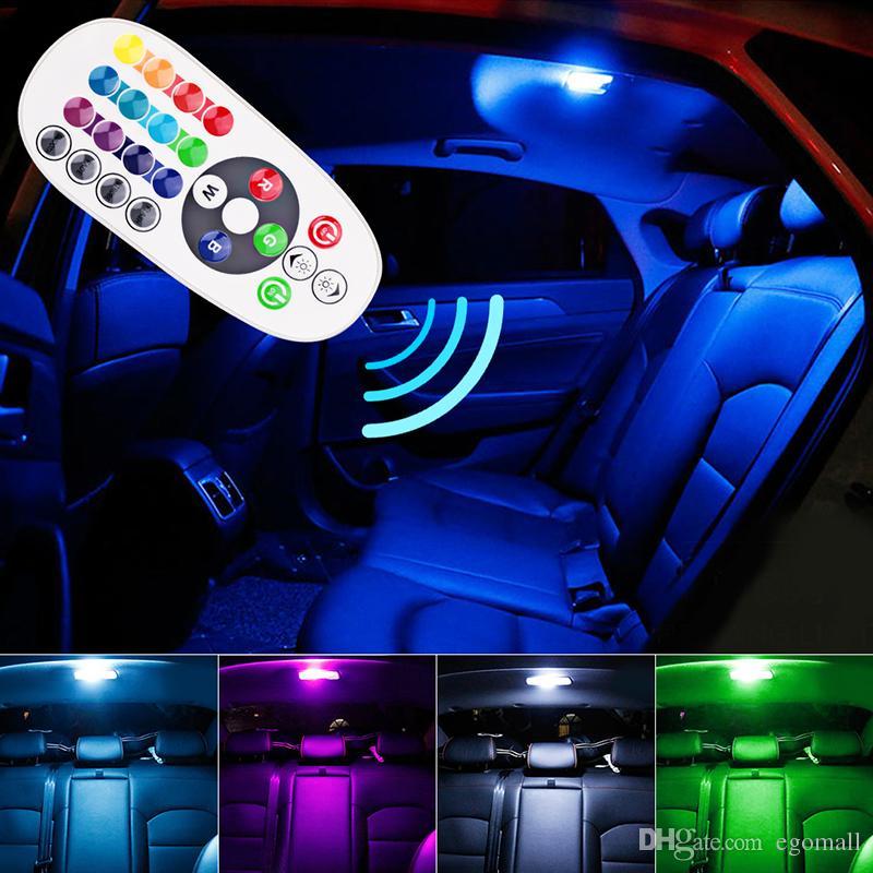 원격 제어 자동차 인테리어 RGB LED 자동차 독서 등 DC 12V T10 5050 밝은 램프 전구 자동 실내 램프 클리어런스 표시 등