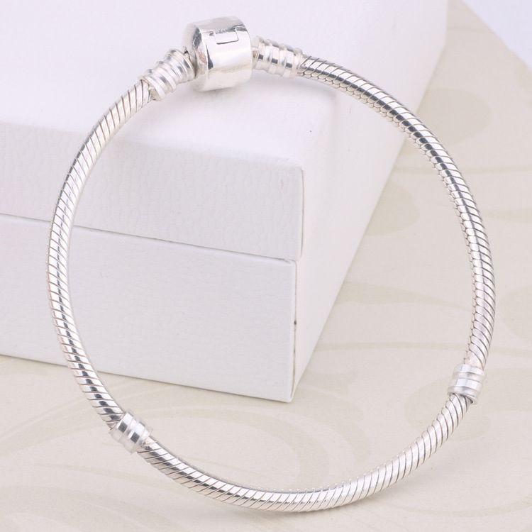 All'ingrosso della fabbrica 925 bracciali in argento sterling 3mm catena del serpente Fit Pandora Charms Bead braccialetto braccialetto creazione di gioielli regalo per le donne degli uomini