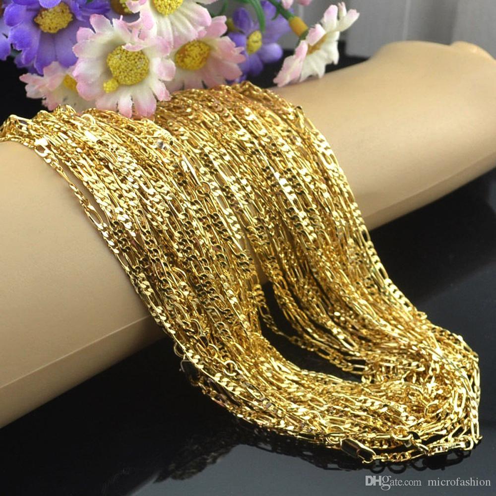 KASANIER Mode Goldfarbe Halskette 16-30 Inches Frau Schmuck Mode 2MM Größe Figaro Halskette Damenbekleidungszubehör