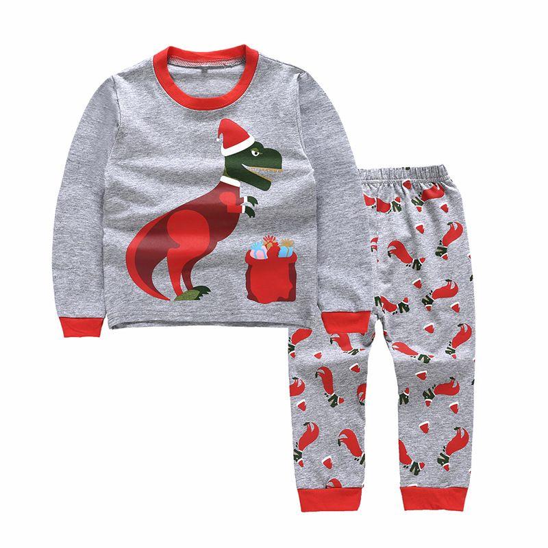 Dinosaur Baby Boy Natale Pigiama Abbigliamento bambini stabiliti Outfit Cartoon cotone a maniche lunghe T-shirt + pantaloni 2pcs Suits Kids Clothes