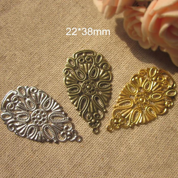 whole sale50 pcs Metal Stamping Crafted Teardrop Shape Filigree Flower Charms,22*38mm,Gold-color / Silver-color / Steel-color Bronze