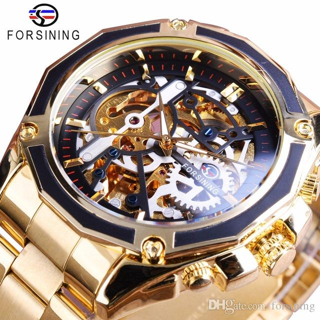Forsining Luxury Watches Top Brand Uomo Orologi automatici Steampunk Gear Design Cassa trasparente Orologio da polso scheletrato in acciaio inossidabile