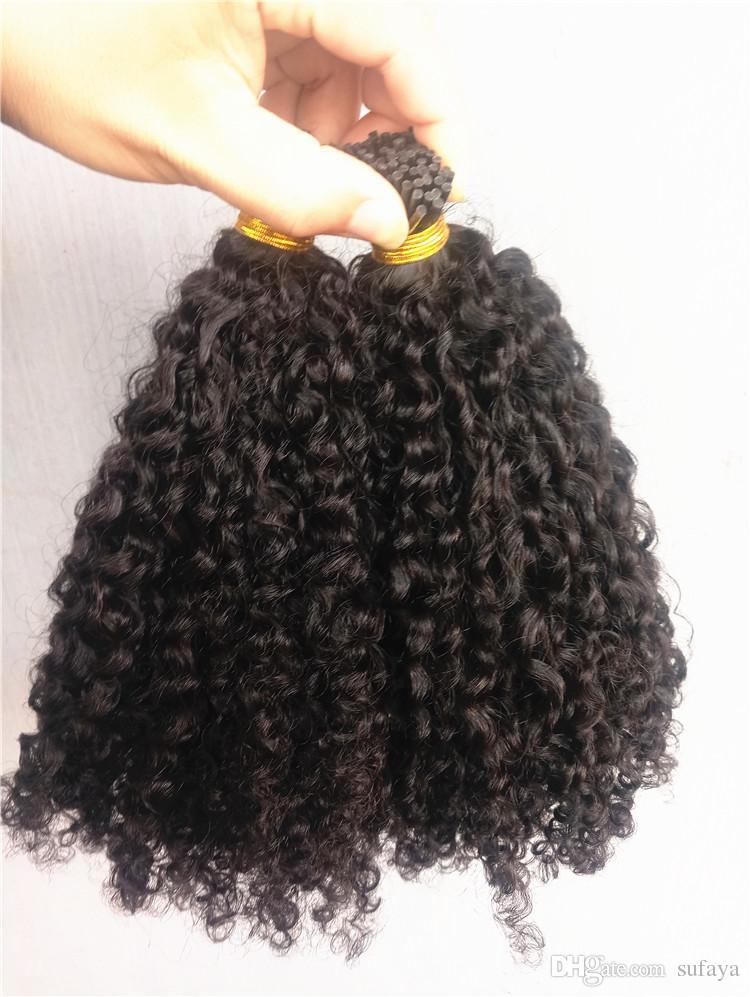 브라질 인체 곱슬 머리 곱슬 머리 보형 헤어 익스텐션 Natral Black Color 1g / pc 100g one bundle