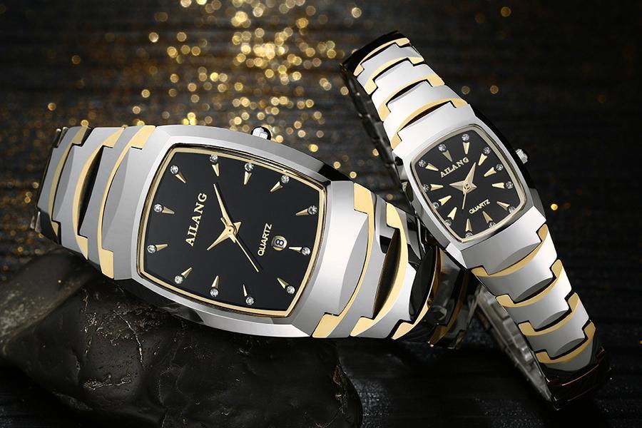 AILANG alta calidad a prueba de arañazos relojes de acero de tungsteno amantes Vintage Tonneau reloj de pulsera parejas calendario reloj hombres mujeres A114