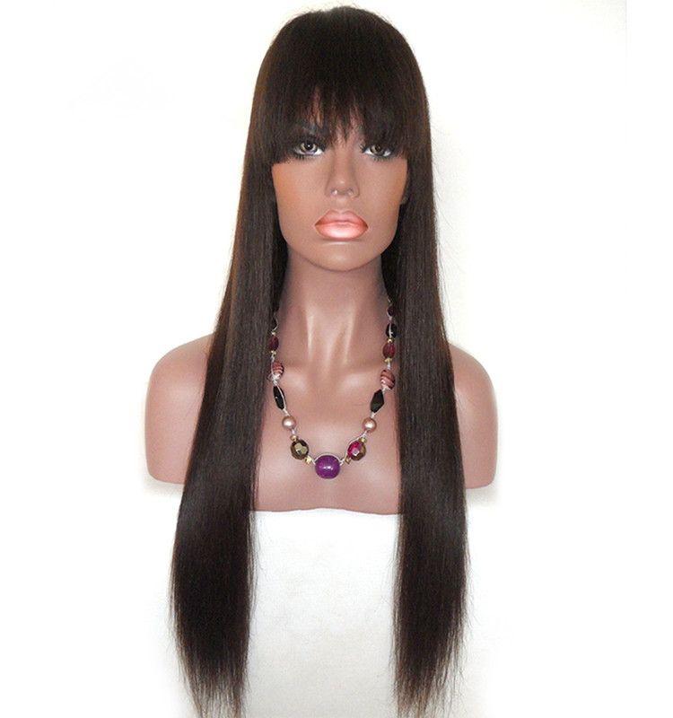 Glueless 100% belleza sin procesar brillo suave flequillo peluca virginal recta larga sedosa del color natural del cabello humano virginal largo venta