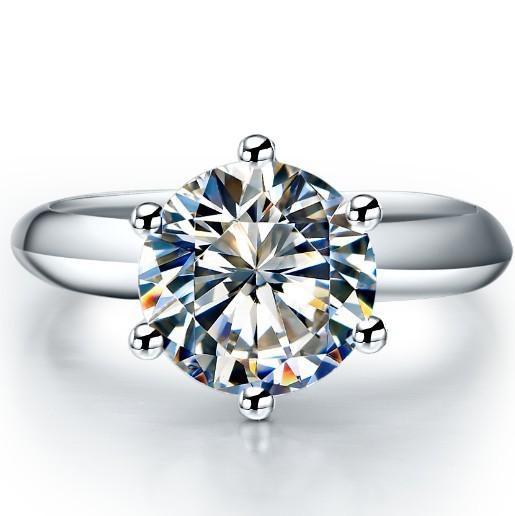 حار بيع 1 قيراط سونا الكلاسيكية الاصطناعية الماس الدائري للنساء الزفاف الاشتباك خاتم فضة خاتم الذهب الأبيض غطاء s923