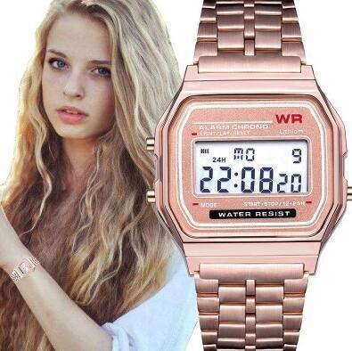 Moda F91W Uomo LED Guarda orologi da polso in oro ultra-sottile argento multifunzione metallo elettronico f 91w orologio da polso