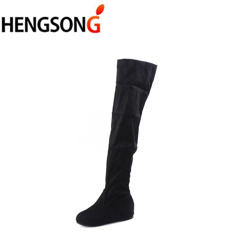 Stivali Donna Autunno Inverno Altezza crescente Stivali Casual Piatti Pieghe sul ginocchio Stivali alti a coscia TR642916