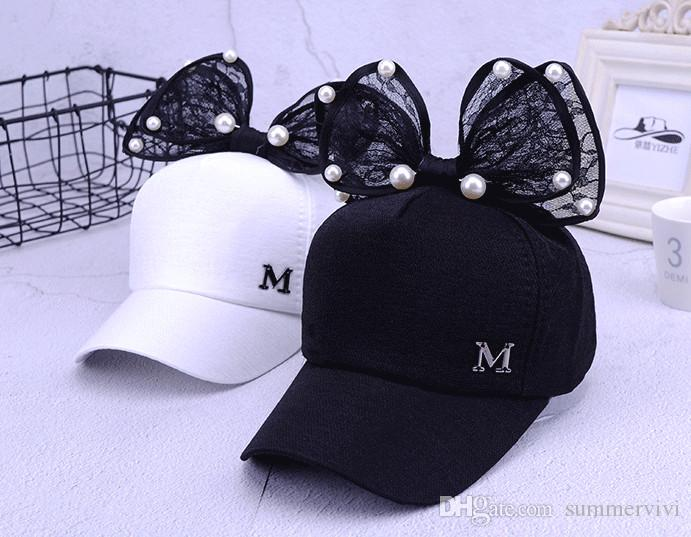 0568facf078a4 ... Fashion new Girls cut Baseball Cap Summer Child Kids beaded lace  Bowknot Baseball Hats children beach ...