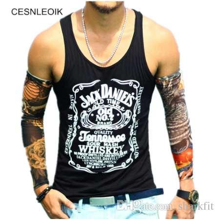 Cotton Big Size Loose Men Tank Top Fitness Print Brand Mens T-Shirt Sleeveless Tank Hip Hop Tops Vest Shirts BT087