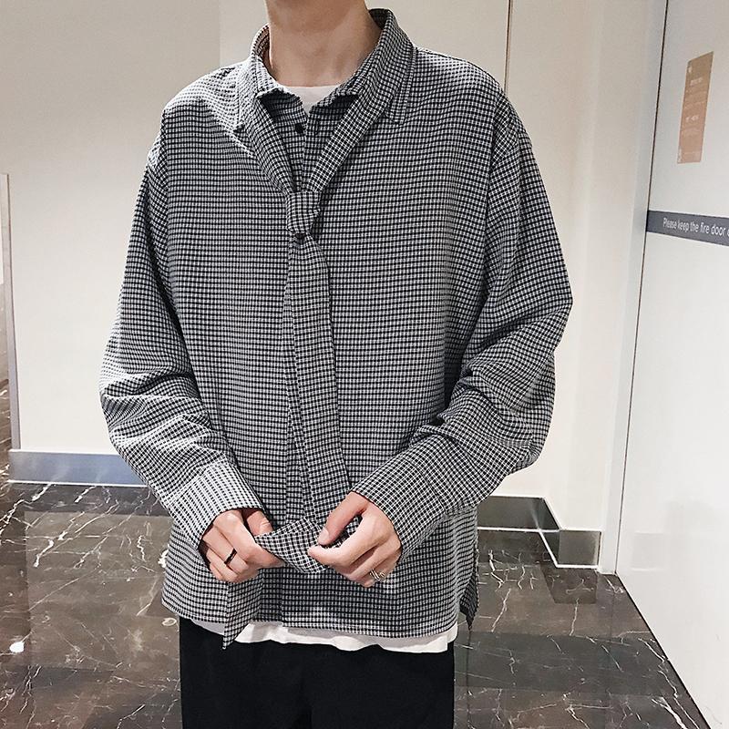 2018 Men's Fashion Chiffon Fabric Lattice Printing Clothes Loose Casual Long Sleeve Shirts Brand Black/Apricot Color Shirt M-XL