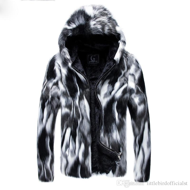 Plus tamaño 3XL Faux Fur Men Parkas Moda High Street Plush liner engrosamiento chaqueta de invierno con capucha hombres casaco masculino