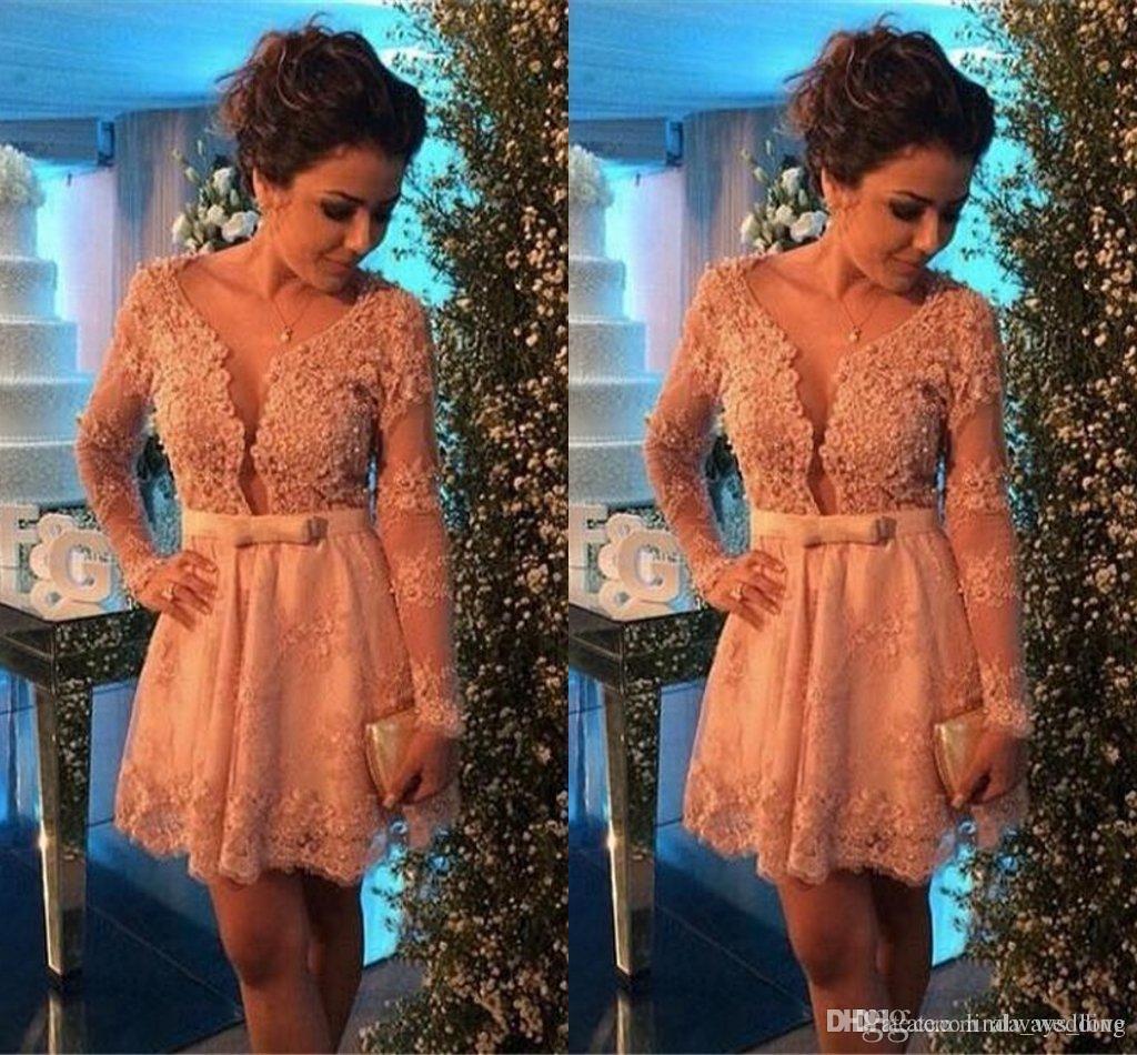 Короткое вечернее платье Pretty A Line с длинными рукавами Кружевное платье для особых случаев Коктейльное платье Пром Вечернее платье Платья больших размеров
