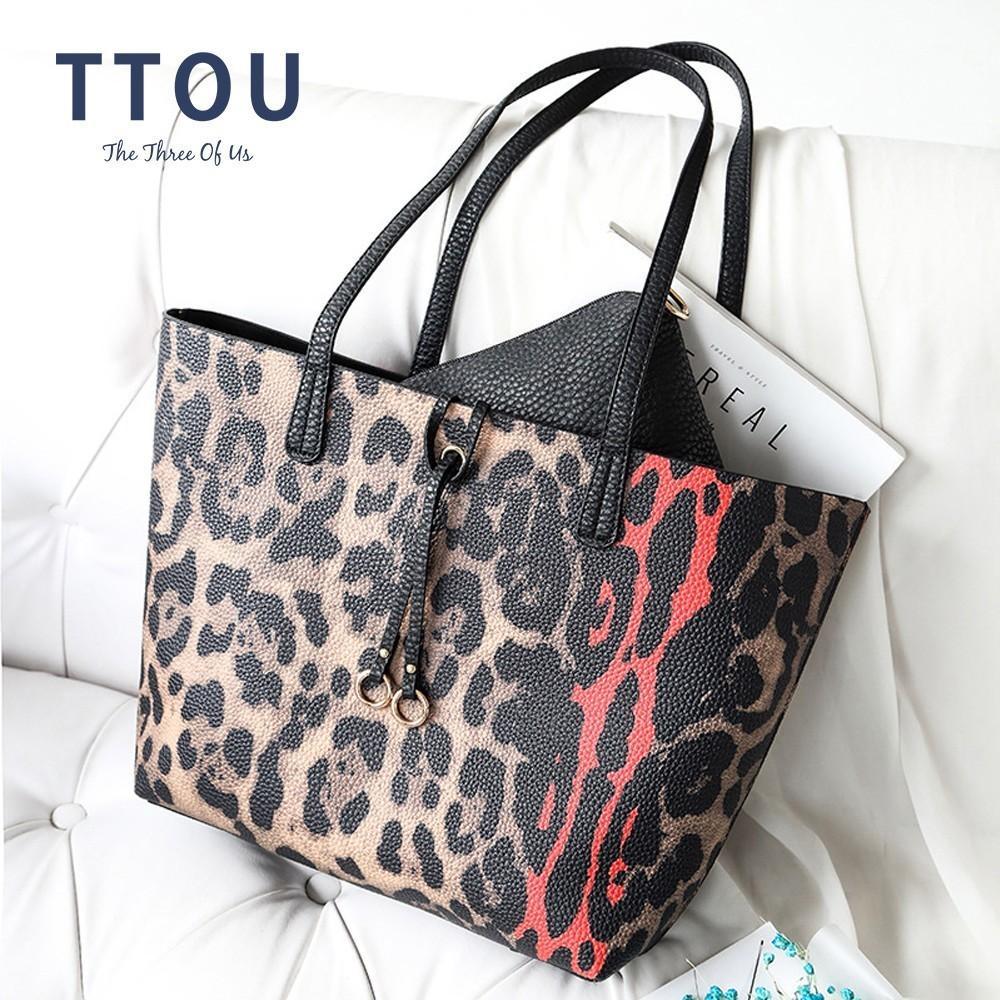TTOU Mulheres Leopard Bolsa de Grande Capacidade ombro sacos 2 conjuntos Fashion Designer Messenger Bag Ladies Casual Tote Bag