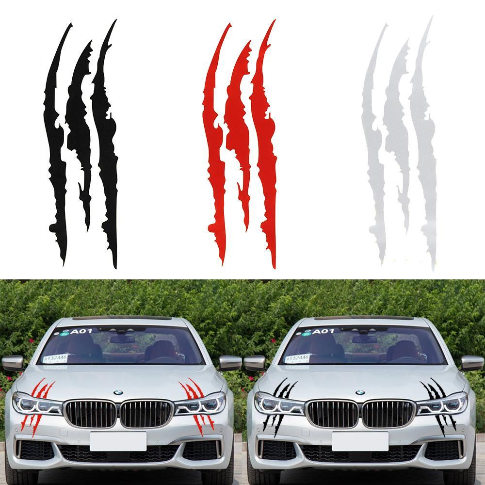 40cm * 12cm Araç Yansıtıcı Canavar Çıkartma Siyah / Beyaz / Kırmızı Çizilmeye Stripe Pençe Marks Araba Oto Far Vinil Çıkartması Araç Şekillendirme