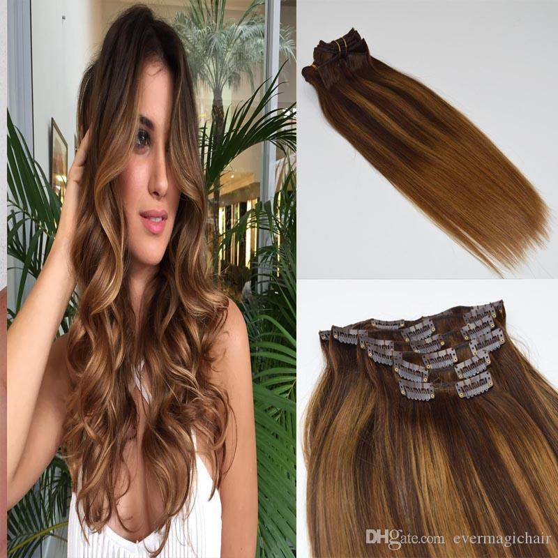 120 г полная голова реального Реми человеческих волос balayage цвет #2 выцветания цвета #6 средний коричневый ломбер клип в наращивание волос