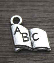 50PCS--Book Charms Silver Tone Alphabet ABC Letter Charm pendants 12x11mm