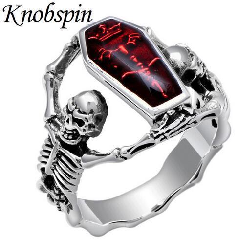 2018 venta caliente de plata de la vendimia del vampiro del palo del cráneo del anillo del punk rock estilo de los hombres del anillo de dedo joyería motorbiker anel masculino