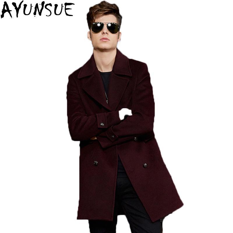 AYUNSUE Yeni 2017 Sonbahar Kış Ceket Erkekler Yün Uzun Palto Turn-Aşağı Yaka Abrigo Hombre Slim Fit Yüksek Kalite LX778