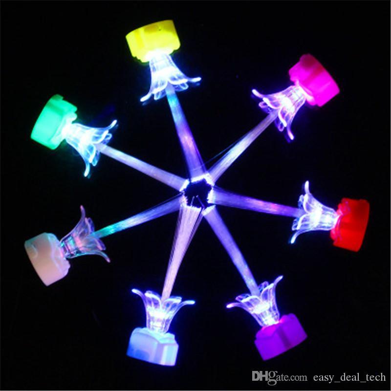 Glow Rose Fibra Óptica Luz Noturna Piscando Eletrônico Vela Lanterna Noite Luz Brinquedos Infantis Festa de Halloween de Natal Q0859