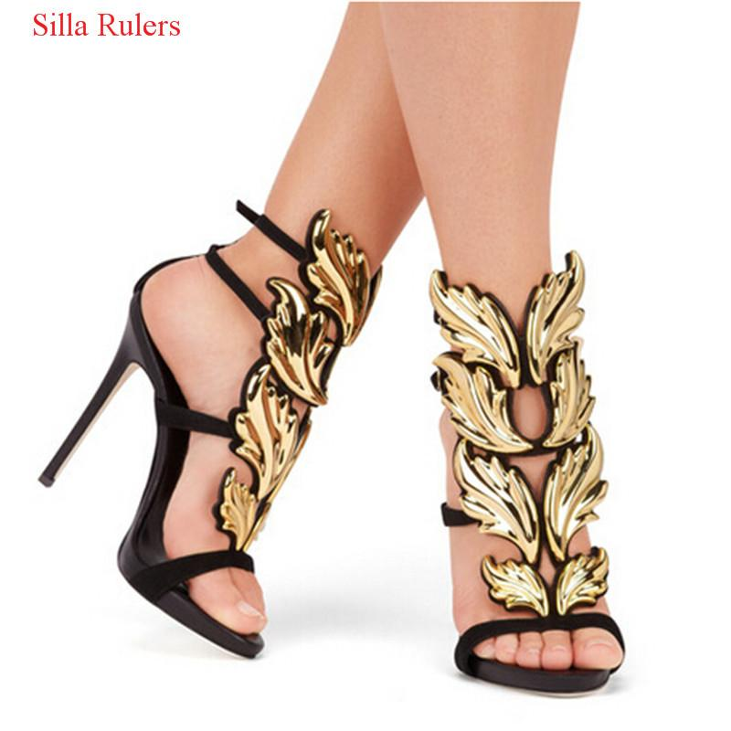Pink Nude Gold Red Winged Sandals Leaves Gladiator Women Sandals Suede Leather Stiletto High Heels Sandals Shoes Woman Botas