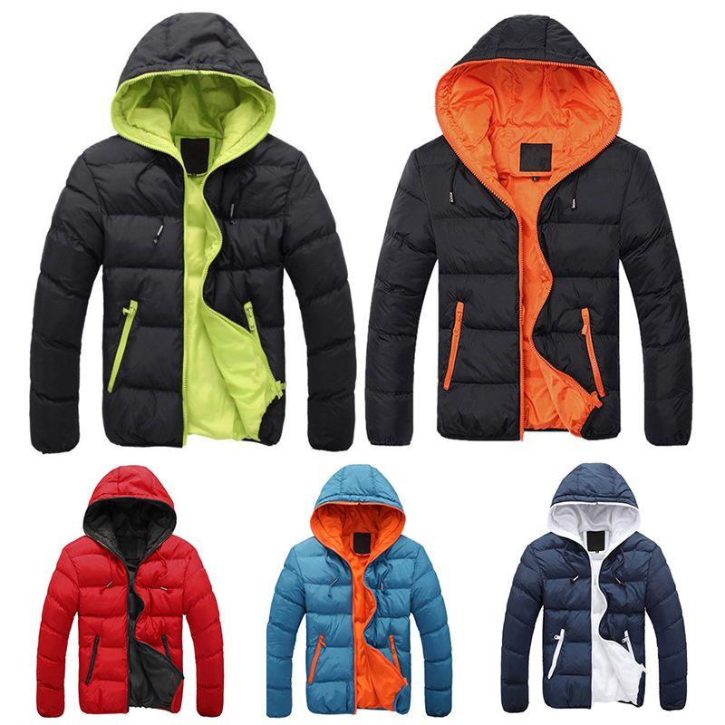 الشتاء الأزياء زائد حجم سترة رجل الصلبة ستر الشارع الشهير هود سميكة مبطن سترة البخاخ فقاعة معطف الرجال الملابس