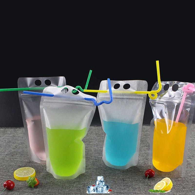 Poche en plastique de sac d'emballage de serrure de fermeture éclair de boisson pour le jus de café Café de lait avec la poignée et trous pour la boisson debout de paille claire
