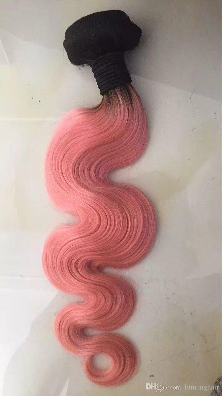 Re Colored Non Remy Hair Extension Human Hair Weave Rose Pink Ombre