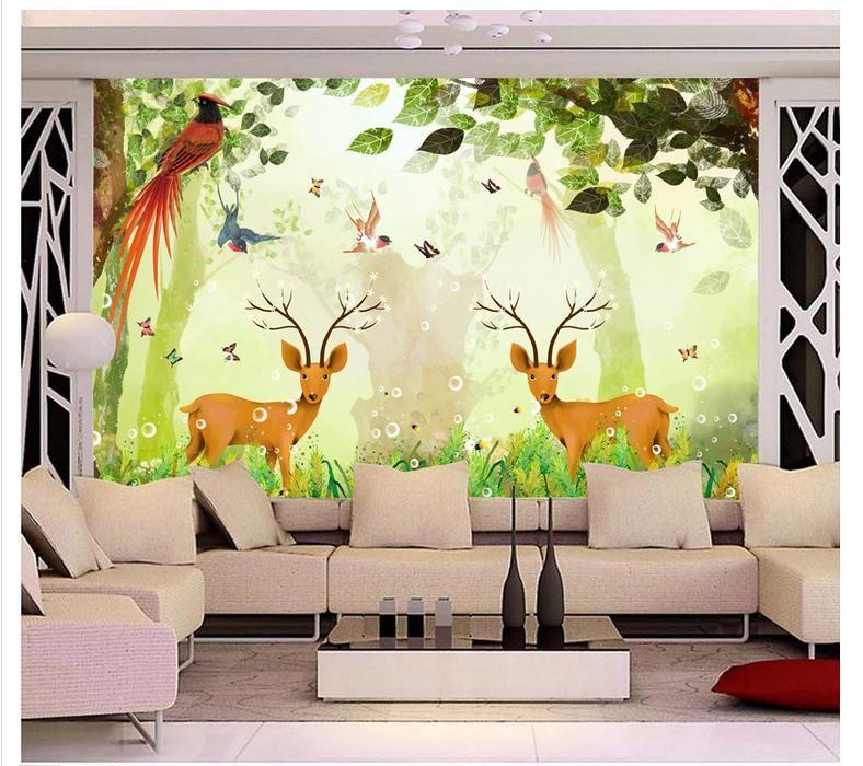 papel de parede 3D personalizado mural de la foto Wallpaper de dibujos animados de fantasía bosque de fondo de la pared fantasía reino de los niños habitación wallpaper home decor