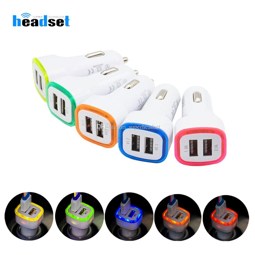 LED Çift USB Araç Şarj Araç Taşınabilir Güç Adaptörü 5V 1A için Samsung S8 Not 8 şarj cihazı