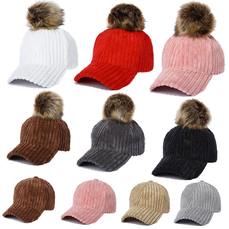 2017 new winter warm ladies hair ball baseball cap hat peaked cap removable outdoor FREE SHIPING