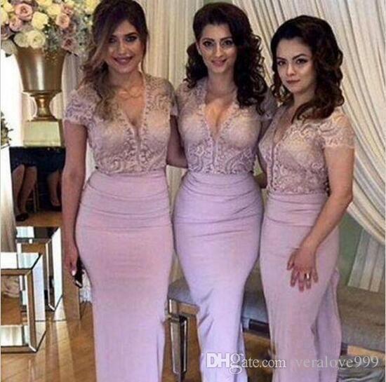 Blush vestidos de dama de honor de encaje con cuello en v manga corta vestidos de fiesta larga de la gasa de la boda vestidos de invitados desgaste de la tarde