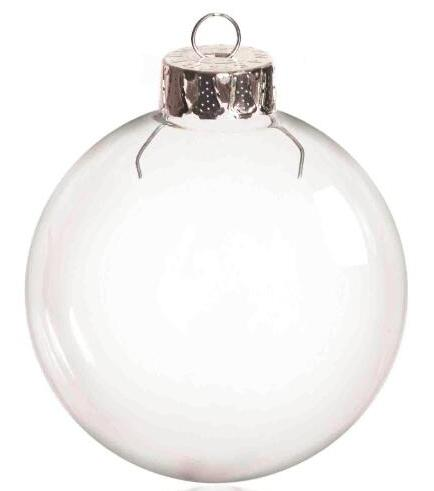 Promotion - DIY Paintable Transparent Christmas Ornament Decoration 66mm Glass Ball With Silver Top, 5/Pack