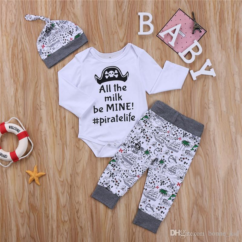ed4a3b9cc Newborn Baby Boys Clothing Toddler T-shirt+Pants+Hat 3PCS set Skull Heads  Pirate Outfit Infant Boutique Casual Kids Costume Children Pajamas