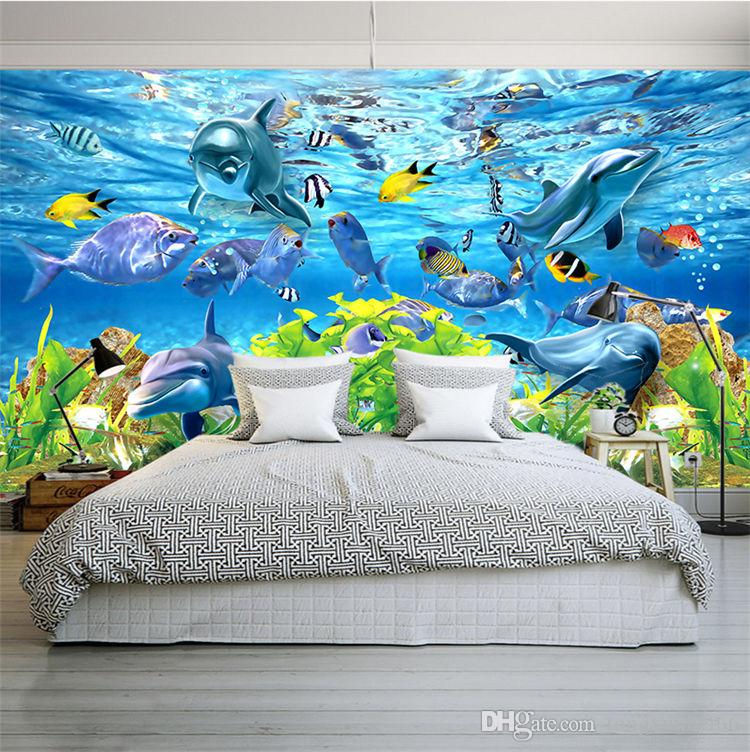 Free Shipping 3D custom wallpaper underwater world marine fish mural children room TV backdrop aquarium wallpaper mural