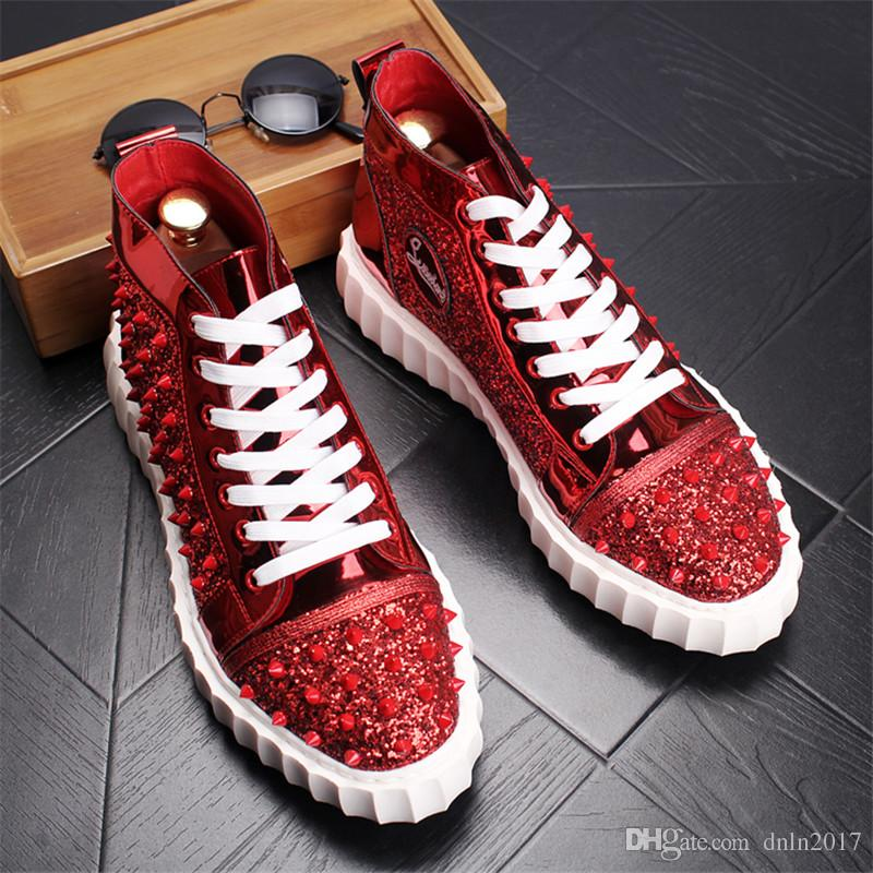 Мода Марка дизайн Мужская обувь красные Шипы высокий топ кроссовки Мужская обувь зашнуровать открытый обувь для мужчин 13D50
