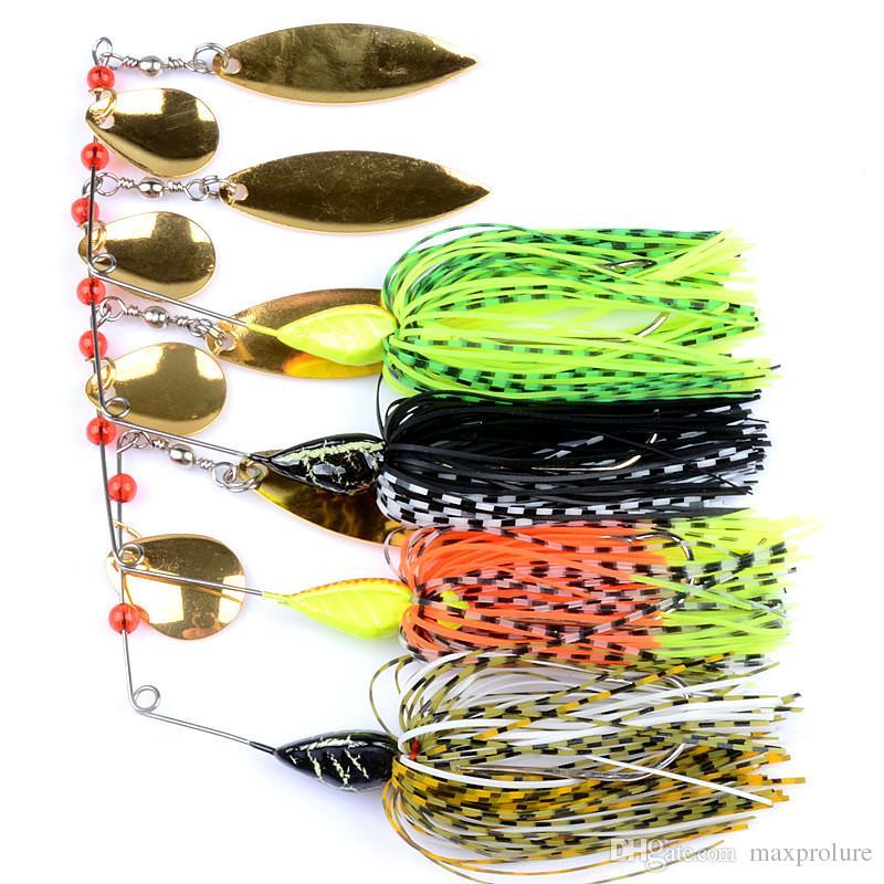 4 pc / lot Topwater Tracteur mode Leurres Petit poisson buzzbait Jupe queue Appâts Spinner Cuillères sport Willow Metal Leaf Lure haute qualité