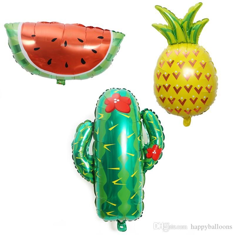 Good Price Cartoon Cactus Balloons Fruit Foil Birthday Party Supply Pineapple Watermelon Balloons Novelty Toys Fedex Free Shipping