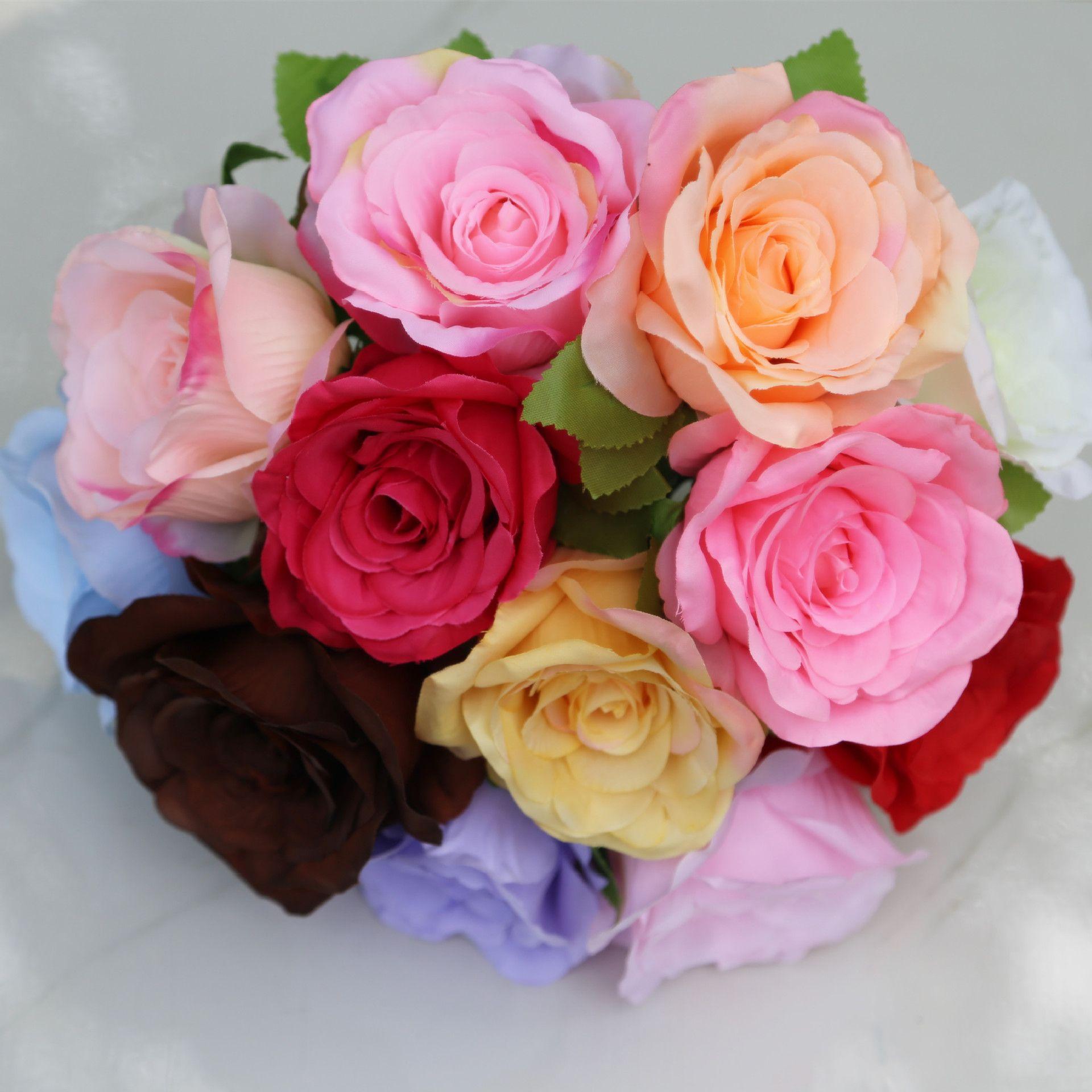 Yapay Çiçekler İpek Güller Buket Ev Düğün Dekorasyon Paketi 50 Adet 24 Renk Seç HB-032