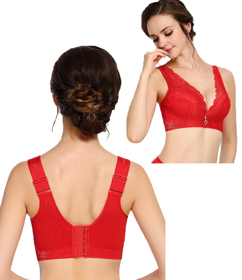 Wire Free New Women Large Size Bra Wide Straps Sheer Push Up Bras 38 40 42 44 46 C D Cup Sexy lace Women Plus Size Bra Black Red
