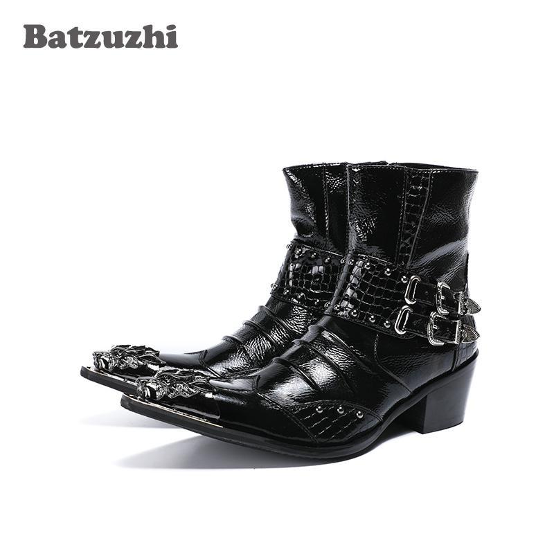 zapatos de hombre 6,5 cm altezza aumentata stivali da uomo in metallo punta a punta in pelle Botas Hombre con fibbie Punk Rock Motocycle stivali corti